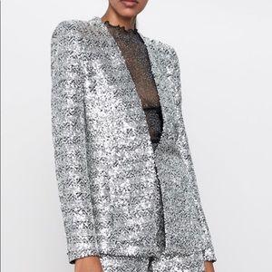 Zara silver sequin blazer